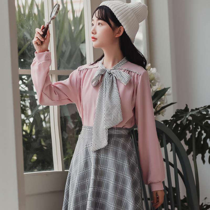 3676#特价15 不退不换只有粉色粉色【现货实拍】气质条纹系带衬衣