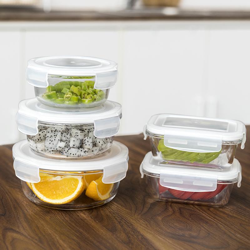 玻璃保鮮盒微波爐飯盒便當盒學生帶蓋保鮮碗廚房儲物盒冰箱收納盒