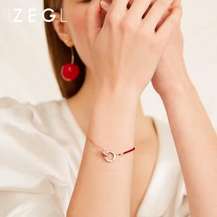 ZENGLIU红绳手链女网红韩版简约个性小众设计本命年礼物红色手绳