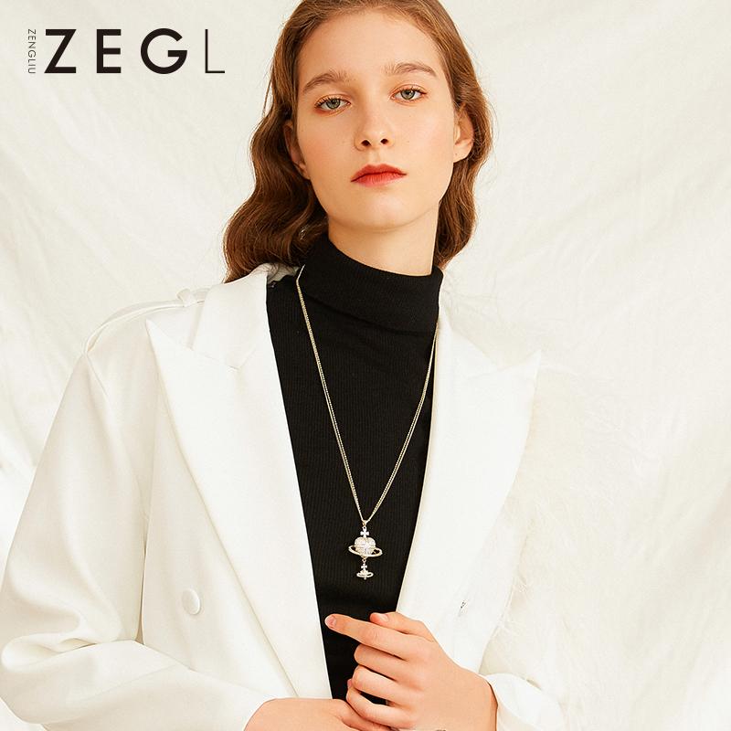 ZEGL宇宙星球项链双层毛衣链女长款百搭简约爱心吊坠配衣服的挂饰