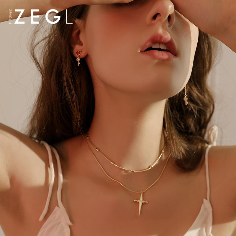 10月28日最新优惠zengliu十字架女双层简约锁骨链