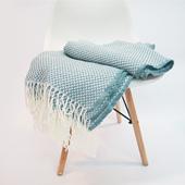 浅蓝色针织沙发搭毯床尾巾姜黄色休闲毯北欧文艺毛线毯