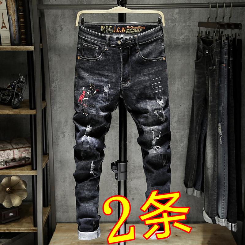 中国风潮牌刺绣牛仔裤男破洞修身小脚裤黑色花鸟绣花男休闲长裤子