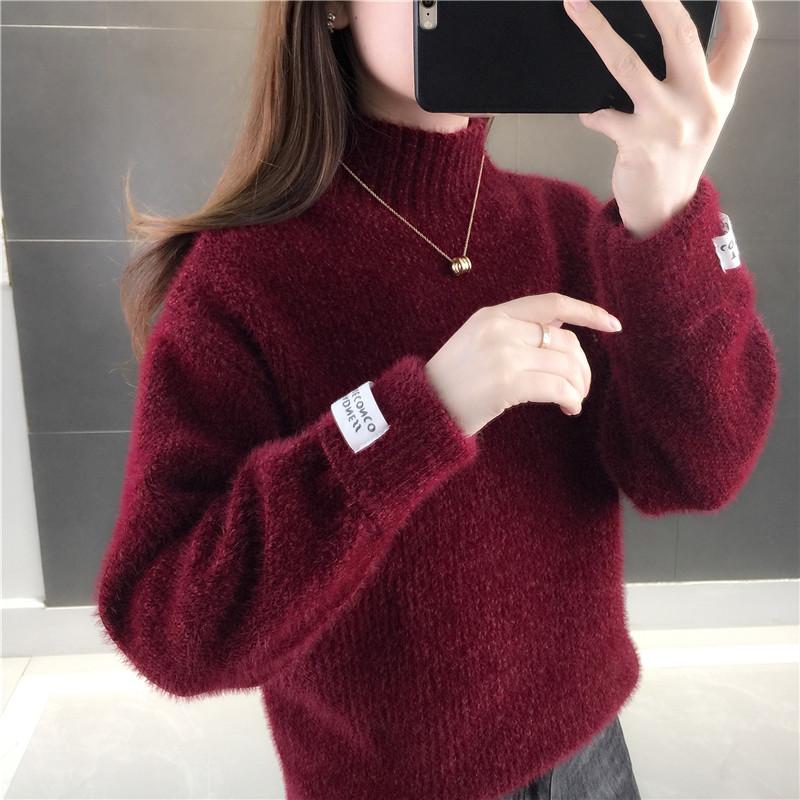 女士毛衣2020新款爆款套头秋装宽松慵懒雪尼尔外穿打底针织衫上衣