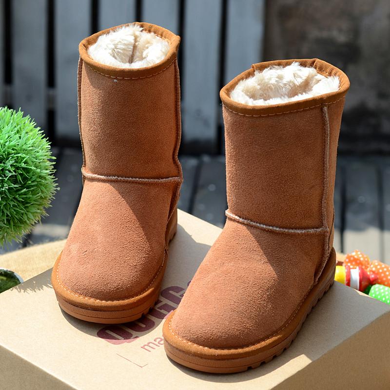 Качественная детская обувь натуральная кожа мягкой шерсти ягнят трубки удовольствие для мальчиков снега сапоги Зимние Сапоги зимние сапоги обувь