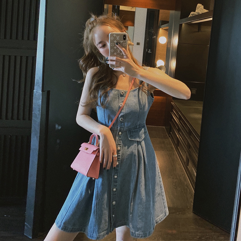 Denim strap skirt for women spring and summer 2020 new French slim waist foreign style A-line age reducing Sling Dress