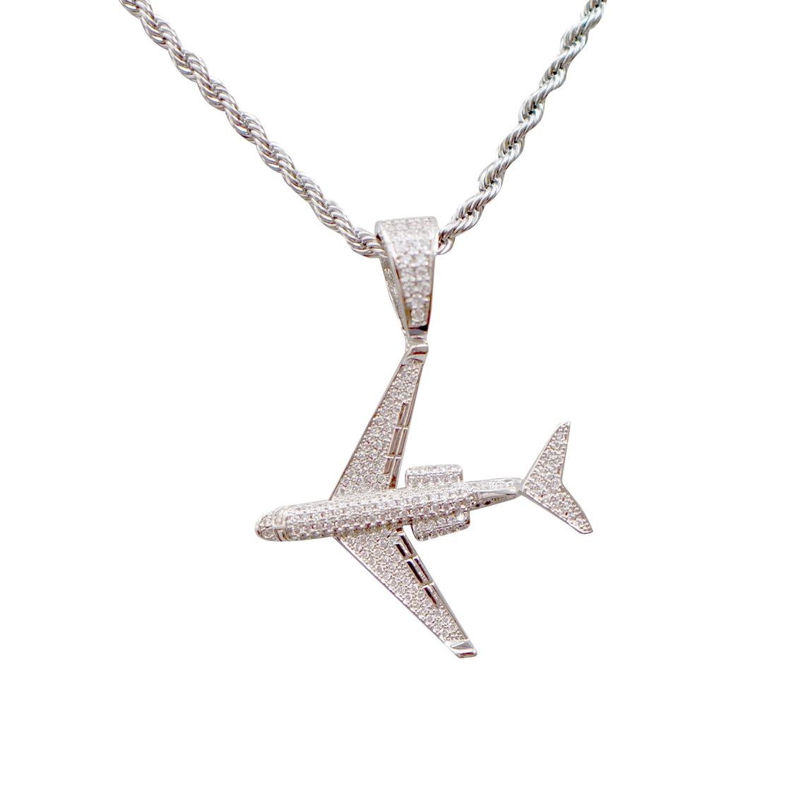Flyhood take-off and landing safety civil aviation original design hip hop jewelry diamond aircraft Necklace