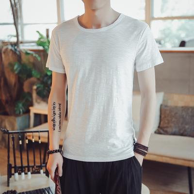 竹节棉T恤衫男士休闲薄款白色修身柔软日系纯棉男t恤衫 TX04/P30