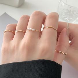 五件套~气质珍珠素圈戒指女小众设计时尚个性指环ins冷淡风手饰品