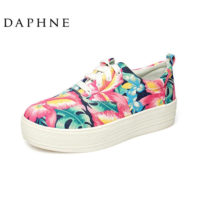 Daphne/達芙妮春款厚底增高單鞋時尚印花布面系帶中跟松糕舒適鞋