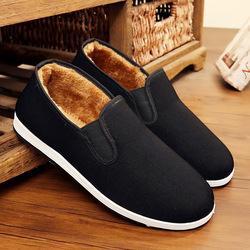 冬季男棉鞋加绒男士休闲鞋防滑保暖家居鞋懒人工作鞋老北京布鞋