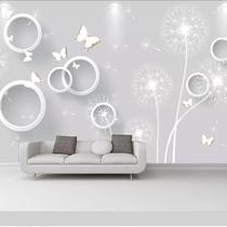 现代简约蒲公英电视背景墙壁纸3d蝴蝶卧室客厅沙发装饰壁画影视墙
