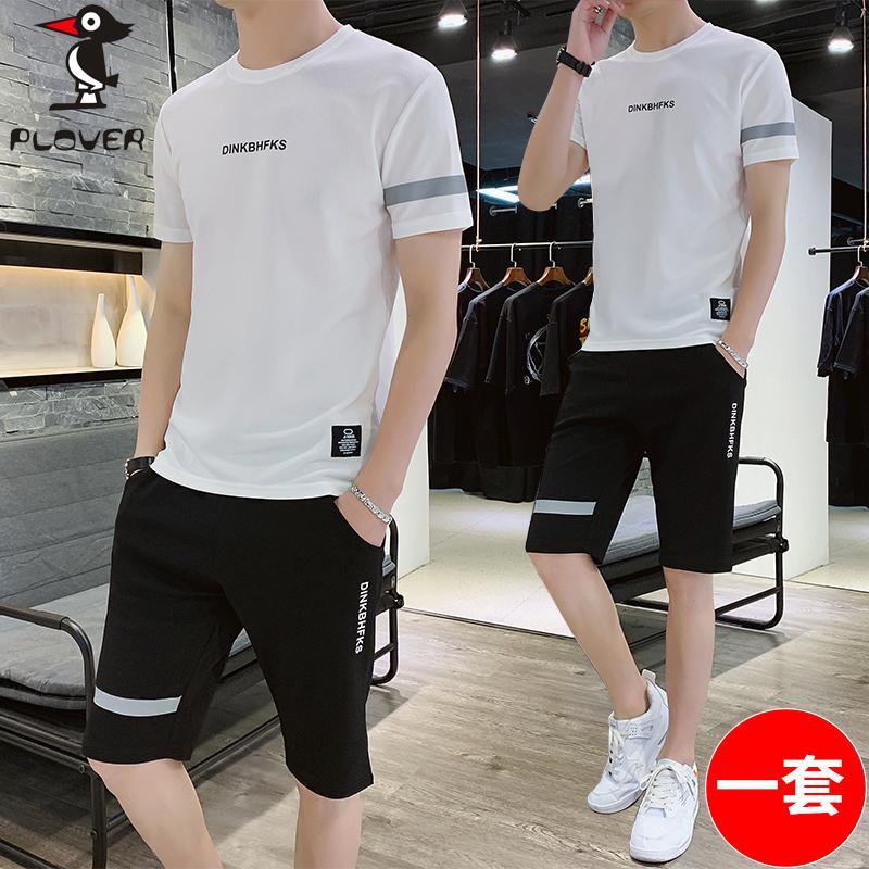 plover 一套套装 短袖t恤男装2019夏新款男士五分裤 男装两件套装