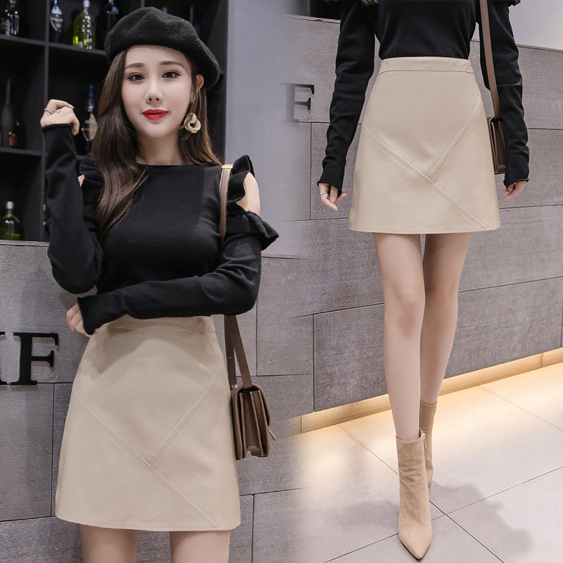 Beige leather skirt womens 2021 new Korean high waist and versatile A-line skirt shows thin and slim, Pu short skirt with buttocks