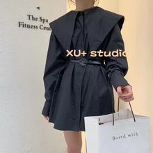 韩国2020年新款复古大翻领气质减龄宽松洋气单排扣中长款衬衫女