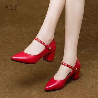 小码女鞋313233码高跟鞋2020新款春季粗跟单鞋红色中跟真皮鞋春秋