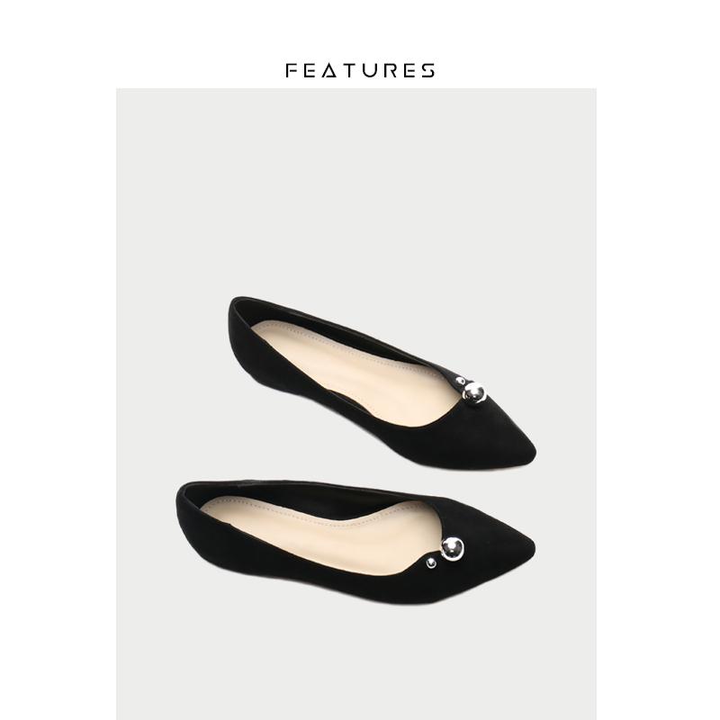 Features新款秋冬尖头黑色浅口平底鞋女绒面珍珠休闲百搭平跟单鞋图片
