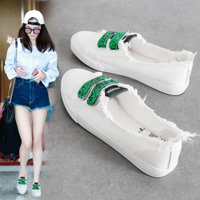 夏季2018新款小白鞋女百搭透气浅口帆布鞋学生韩版懒人魔术贴白鞋