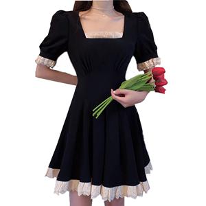 大码女装夏季新款复古赫本风连衣裙