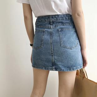 牛仔半身裙女2020夏季新款韩版百搭高腰显瘦小个子a字包臀短裙子图片
