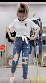 薄破洞牛仔裤女款2021新品宽松网红夏季九分高腰深显瘦哈伦直筒裤