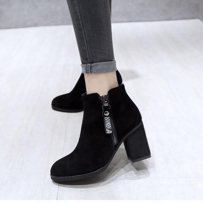 312马丁靴女新款女鞋秋冬女靴高跟鞋裸靴粗跟靴子短靴女春秋单靴