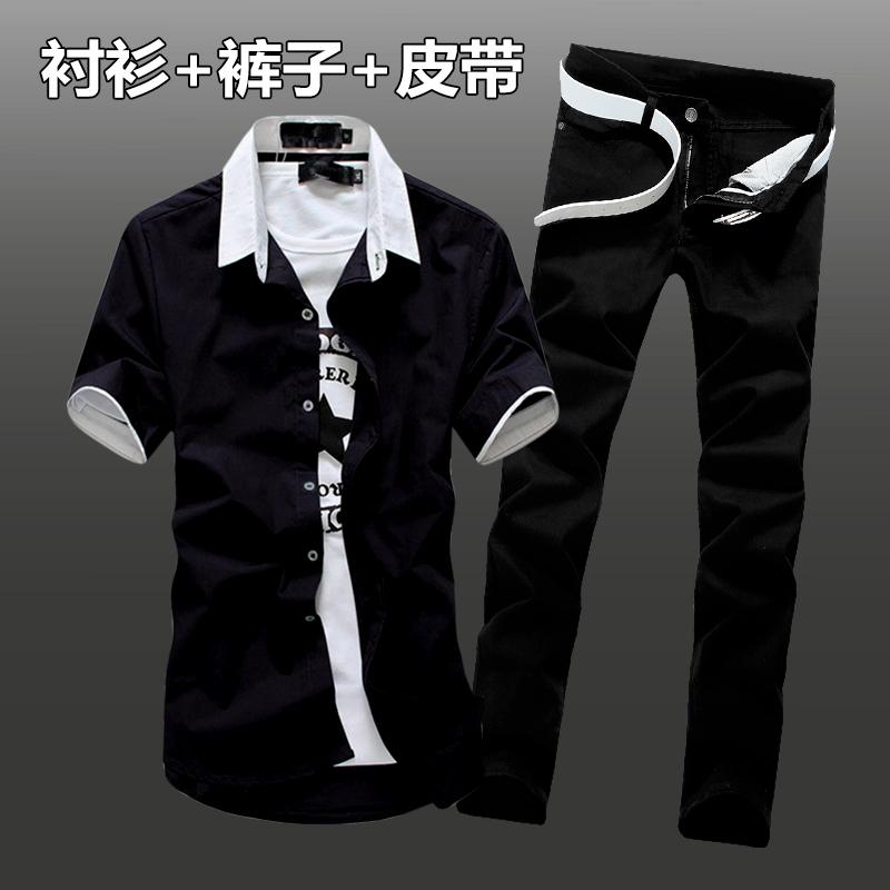 夏季新款男士韩版短袖衬衫牛仔长裤套装潮流修身休闲寸衫衬衣服男