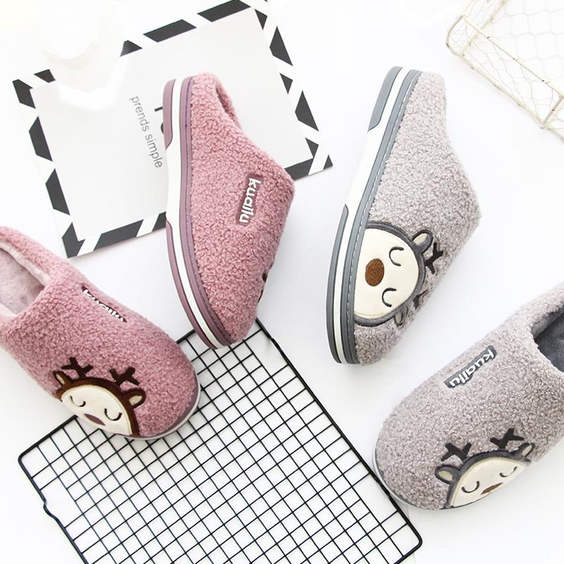 Kuailu childrens cute cartoon warm cotton slippers mens anti slip thick soled household shoes three women in winter