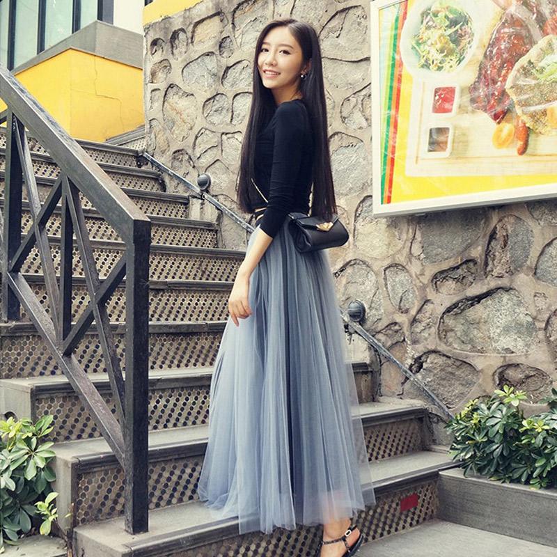 Bust skirt female autumn 2019 new mesh pleated skirt skirt high waist Fairy Light Blue medium long black yarn skirt