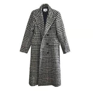 3ts 冬季復古格子羊毛大衣赫本風毛呢秋冬千鳥格呢子外套女中長款