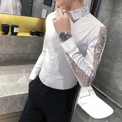 20秋男衬衫英伦长袖蕾丝袖上衣韩版修身四季纯色衬衣男装C204-P55
