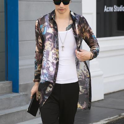 18秋新款薄纱网数码印花衬衣个性潮长袖透视长款衬衫W05-P60