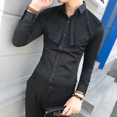 18秋新款男长袖纯色百褶衬衣英伦风个性潮纯色工作服衬衫W346-P50