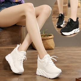 原宿镂空透气12厘米内增高女鞋系带坡跟韩版百搭白色厚底运动鞋潮