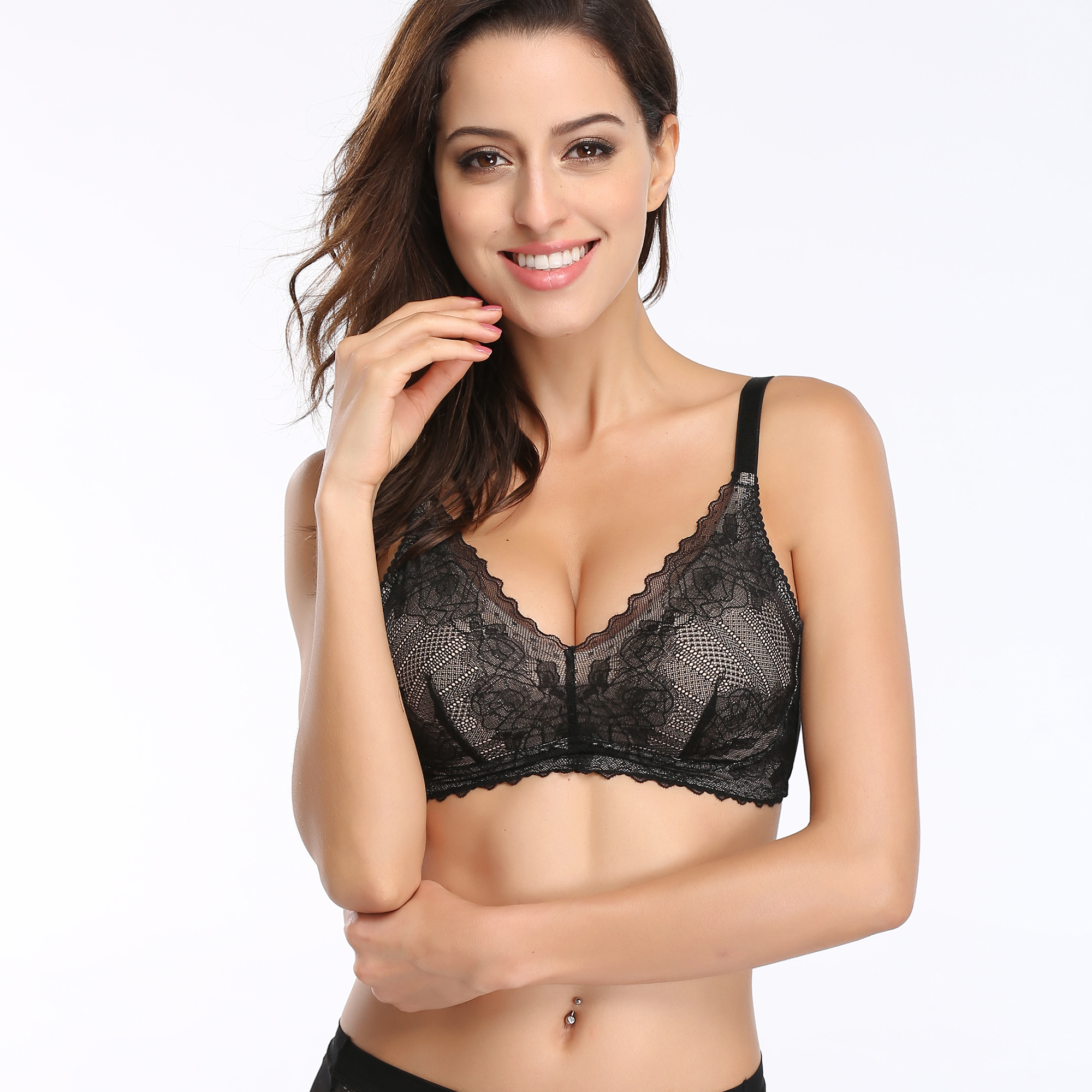 Comfortable and sexy midge full cup thin shoulder strap deep V lace no steel ring bra summer solid color bra underwear