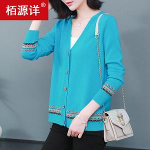 中年妈妈春秋季外套羊绒羊毛衫毛衣开衫外套女韩版宽松短款针织衫