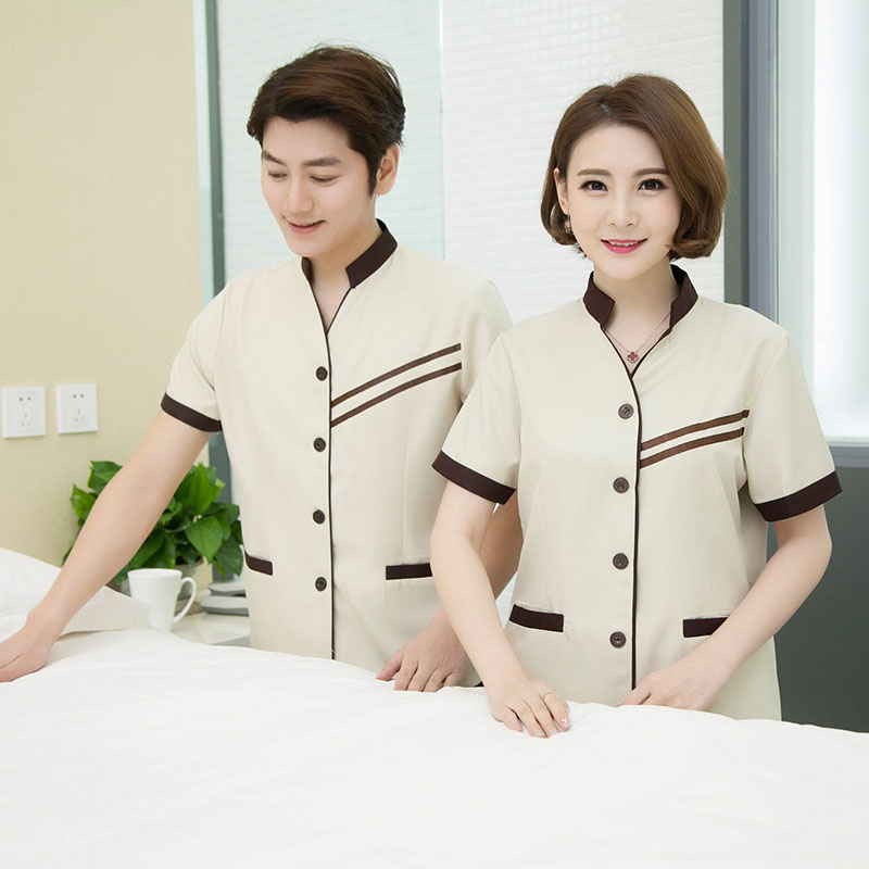 Cleaning work clothes short sleeve summer clothes hotel property cleaning room attendant short sleeve female cleaning clothes large size suit