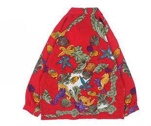 古着vintage復古日系百搭夏威夷森女系寬鬆巴洛克長袖油畫花襯衫s