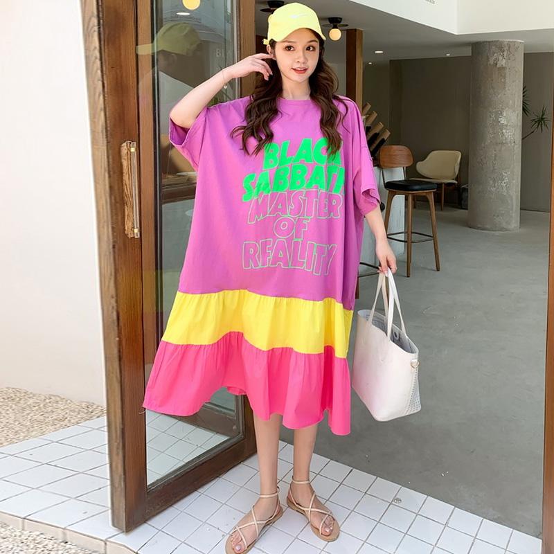 夏季新品 韩版特大码女装时尚潮流拼接大摆裙宽松T恤