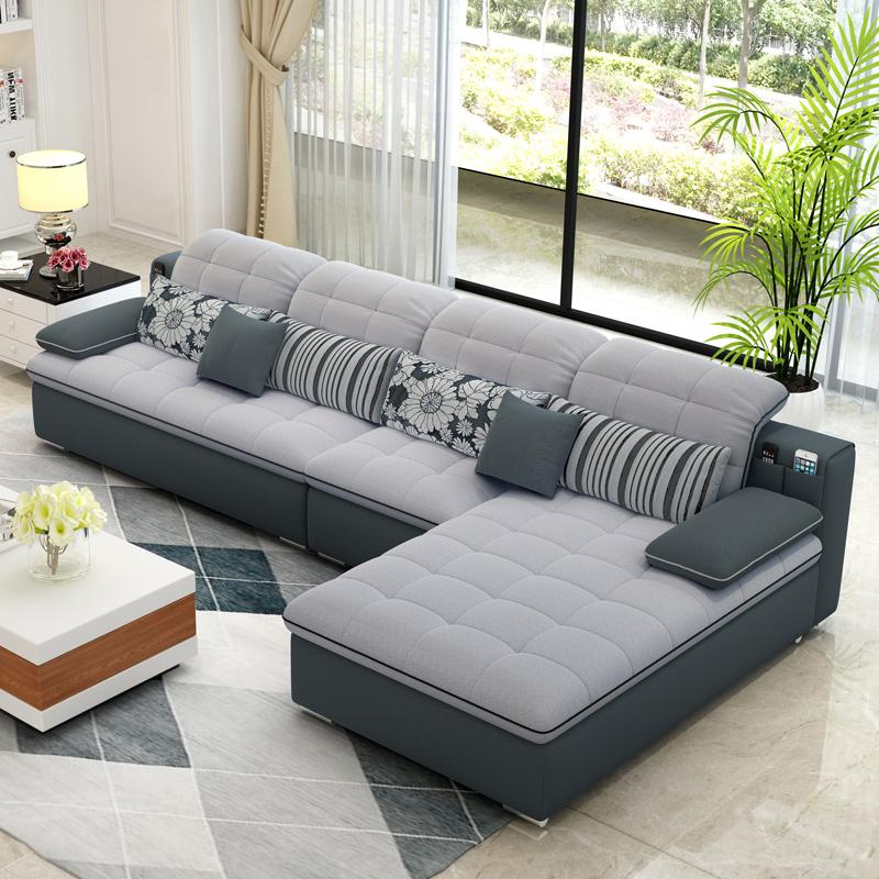 Ткань диван сочетание съемный простой современный размер квартира три гостиная угол мода помощь мебель