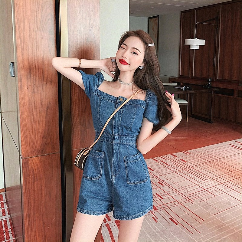 Square neck Jumpsuit shorts one shoulder new one-piece top fashionable new off shoulder large fashion