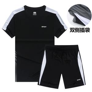 两件套运动套装男夏季短袖T恤休闲潮流服装健身速干衣大码五分裤