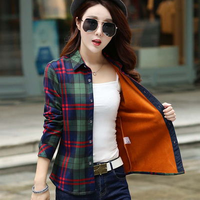 Plush and thickened fashion Plaid Shirt womens autumn and winter clothing warm bottoming inch clothing Korean junior high school students loose Retro