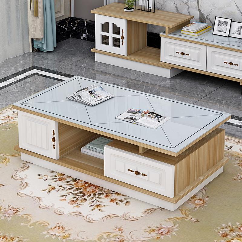 茶几简约现代客厅钢化玻璃小户型欧式客厅电视柜组合家用简易茶桌
