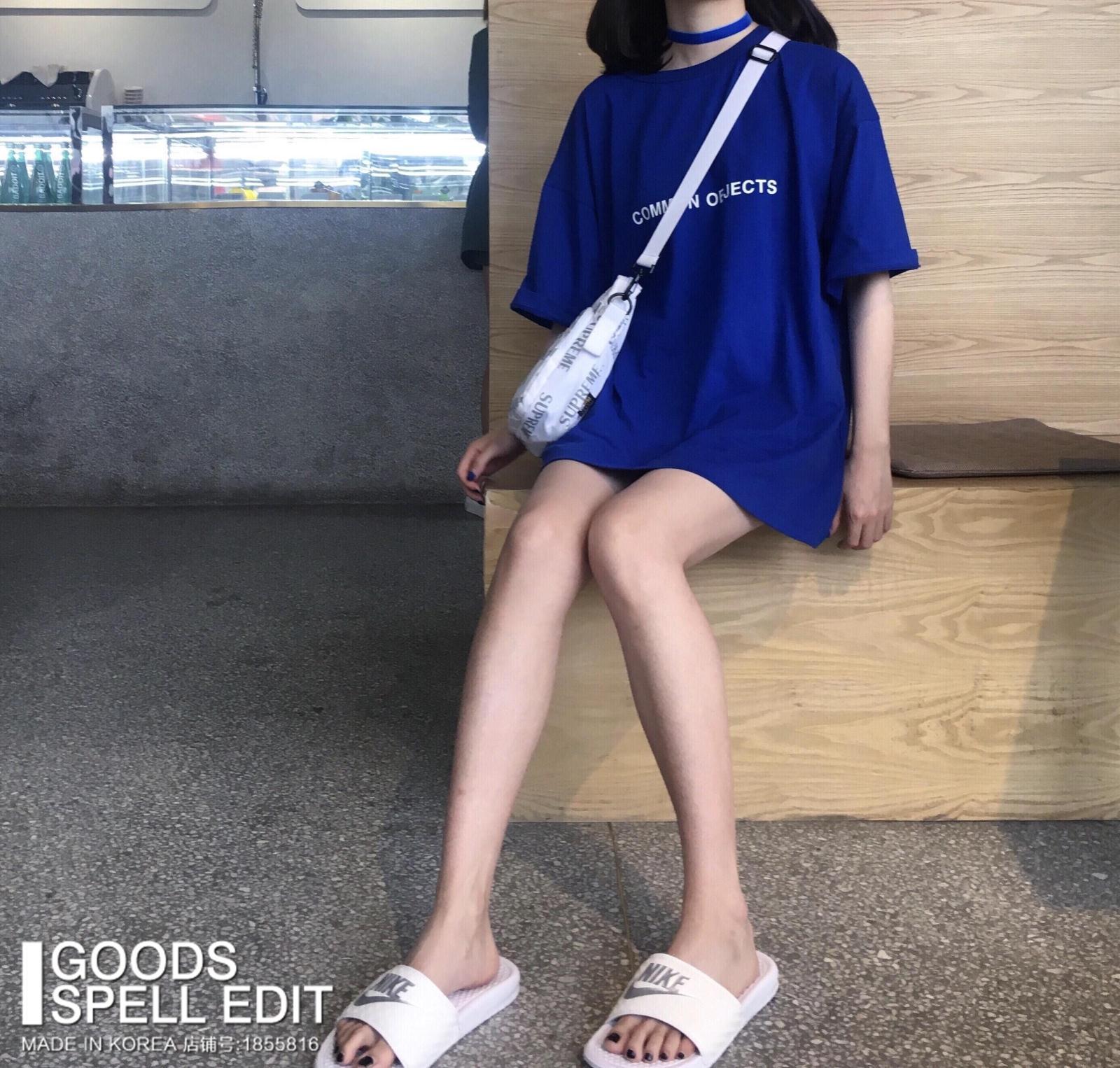 韩国2018夏季新款纯棉圆领短袖上衣女中长款宝蓝色字母百搭T恤潮