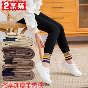 女童秋冬季加厚打底裤儿童加绒保暖裤袜校服内外穿修身小脚口靴裤