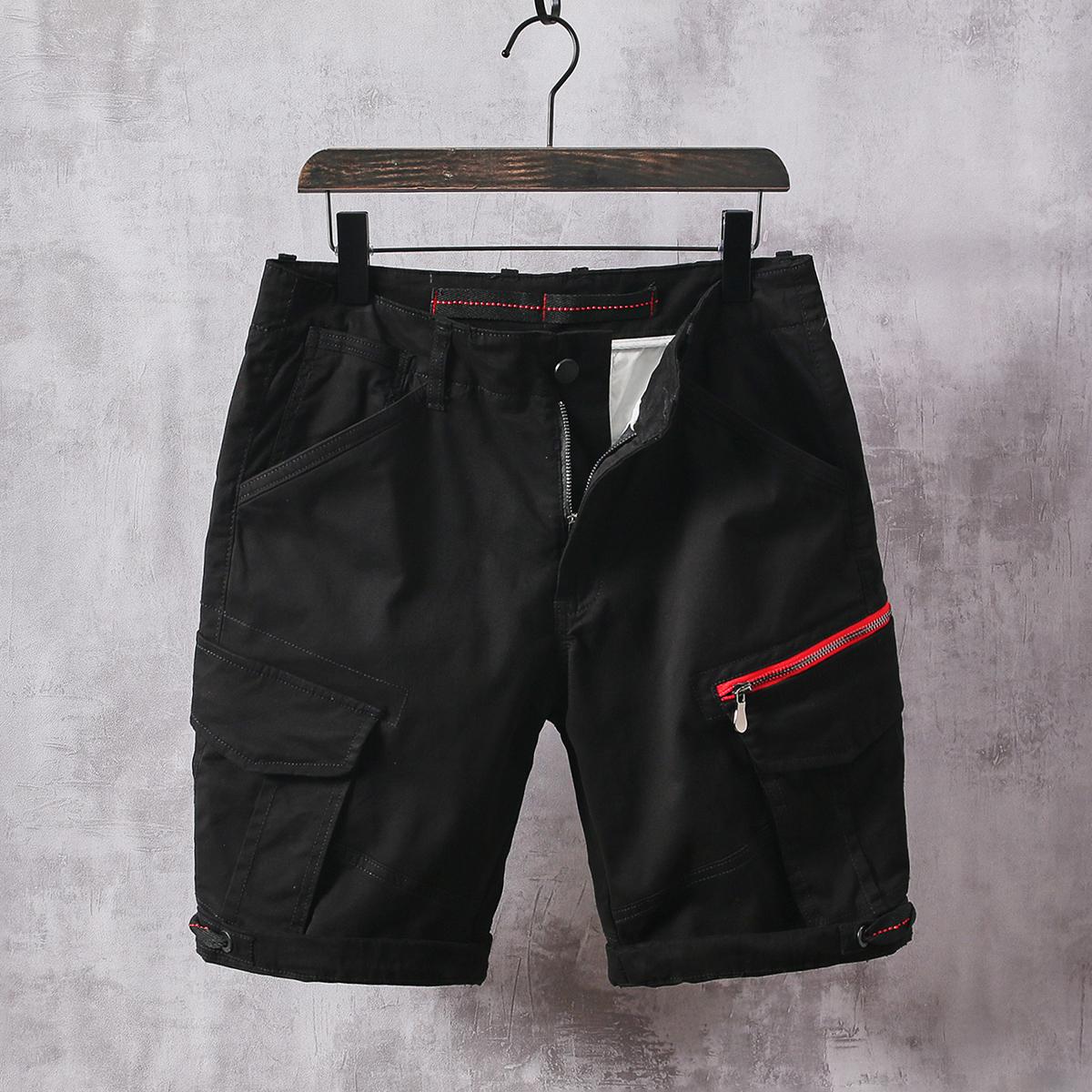 夏季纯棉工装短裤男宽松多袋休闲裤子潮牌ins五分裤复古运动中裤
