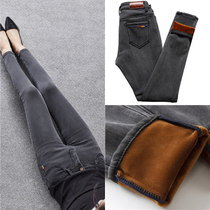 Grey Stretch velvet jeans female small foot nine pants Korean version thickened pencil pants ins super fire pants Winter