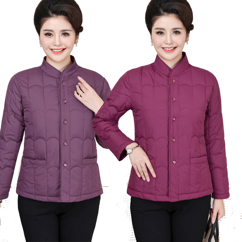 Middle aged and old mothers can wear cotton padded jacket with extra fat, light down, cotton padded jacket and womens short jacket