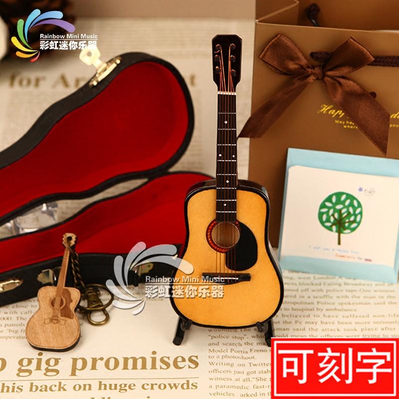 多尺寸木制迷你民谣吉他模型送男女朋友生日礼物老师客户圣诞礼品图片
